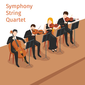 Symphonic orchestra string quartet illustration concept.  music instrument, violin play