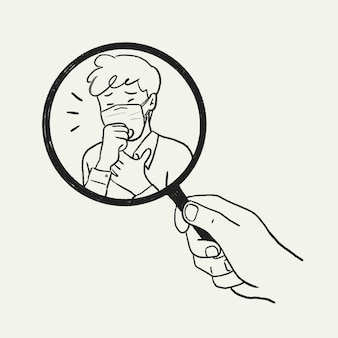 Vettore di doodle del correttore dei sintomi, illustrazione del coronavirus