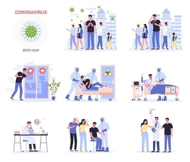 Симптомы и распространение и лечение. предупреждение о короновирусе. исследования и разработки профилактической вакцины. набор из