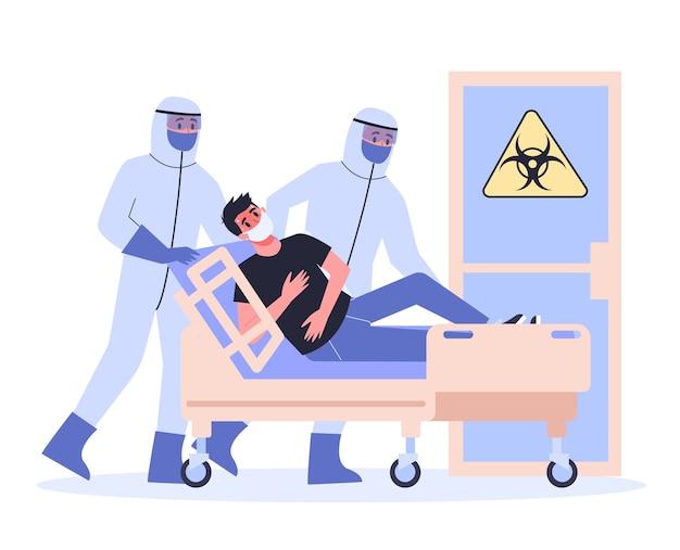 Симптомы и лечение. предупреждение о короновирусе. врач в спецоборудовании госпитализирует инфицированного человека.