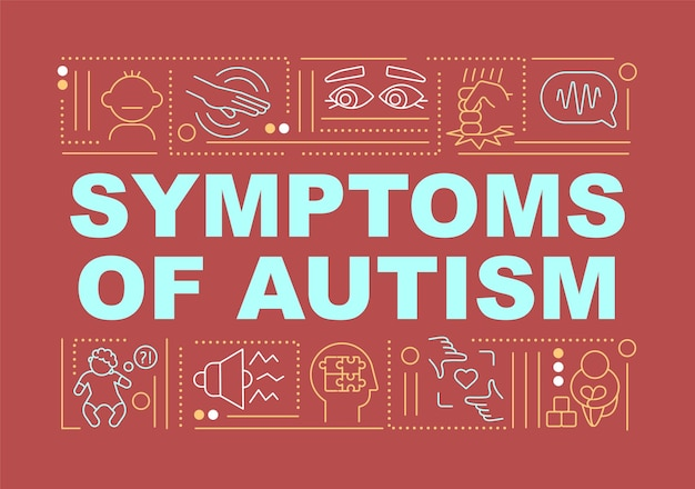 Symptoms of autism word concepts banner. medical services. infographics with linear icons on red background. isolated creative typography. vector outline color illustration with text