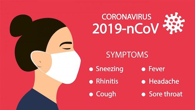 Симптомы коронавируса 2019-нков. опасный вирус, пандемия. китай.