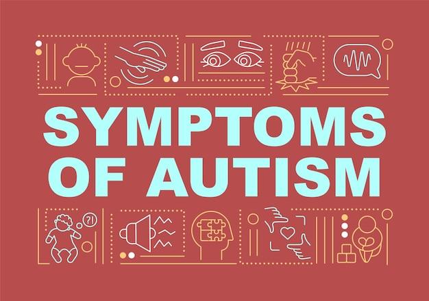 자폐증 단어 개념 배너의 증상입니다. 의료 서비스. 빨간색 배경에 선형 아이콘으로 인포 그래픽입니다. 고립 된 창조적 인 인쇄술. 텍스트와 벡터 개요 컬러 일러스트