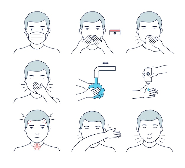 Symptoms and tips for prevention of viruses and infections. handwashing with antiseptic, correct sneezing and coughing, face shield, disinfectant for hands and nose.