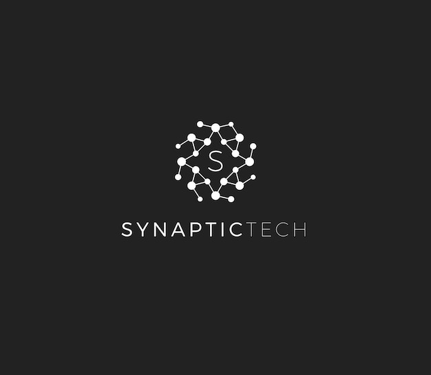 Synapse structure abstract vector logo concept synaptic tech emblem isolated icon on white