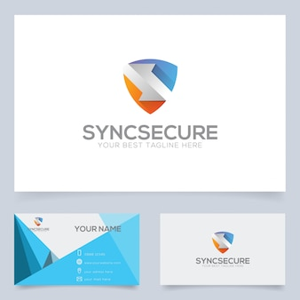 Tech companyなど向けのsync secureロゴデザインテンプレート