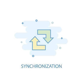 Synchronization line concept. simple line icon, colored illustration. synchronization symbol flat design. can be used for ui/ux