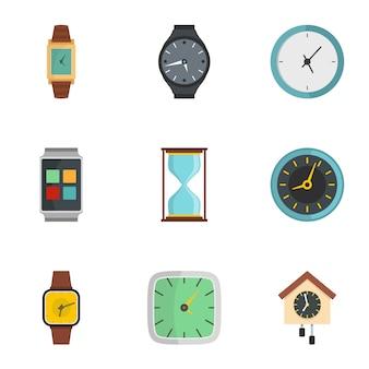 Synchronization signal icons set, flat style