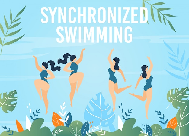 Synchronized swimming courses advertising banner