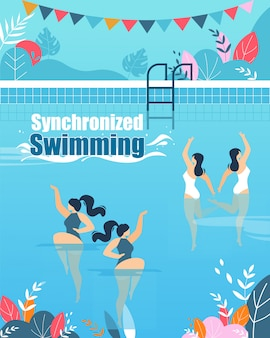 Synchronized swimming courses vertical flat banner