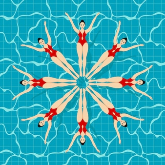 Synchronized swimming sport. synchronized swimming lettering on a background with different swimmers.