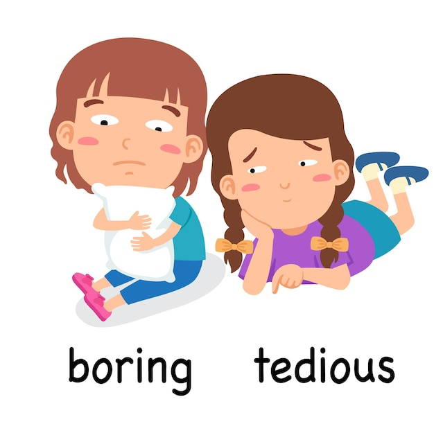 Synonyms adjectives boring and tedious vector illustration