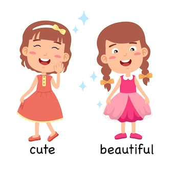 Synonyms adjectives cute and beautiful vector illustration