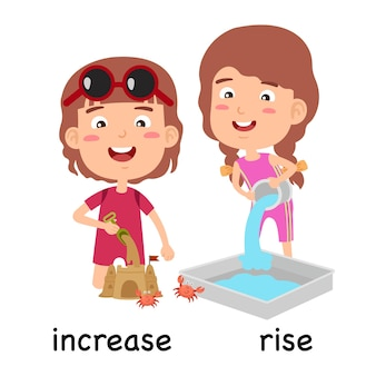 Synonyms adjectives increase and rise vector illustration