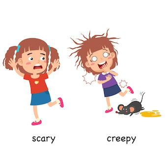 Synonyms adjectives scary and creepy vector illustration