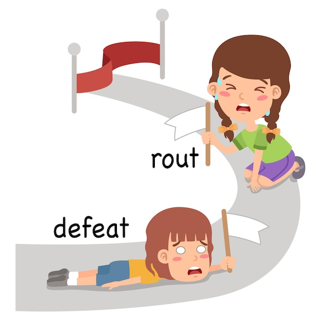 Synonyms defeat and rout vector illustration