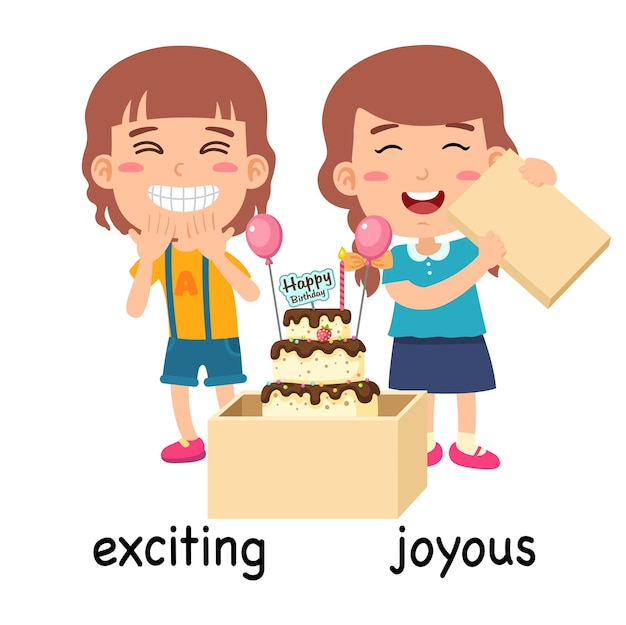 Synonyms exciting and joyous vector illustration