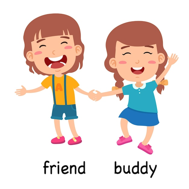 Synonyms friend and buddy vector illustration