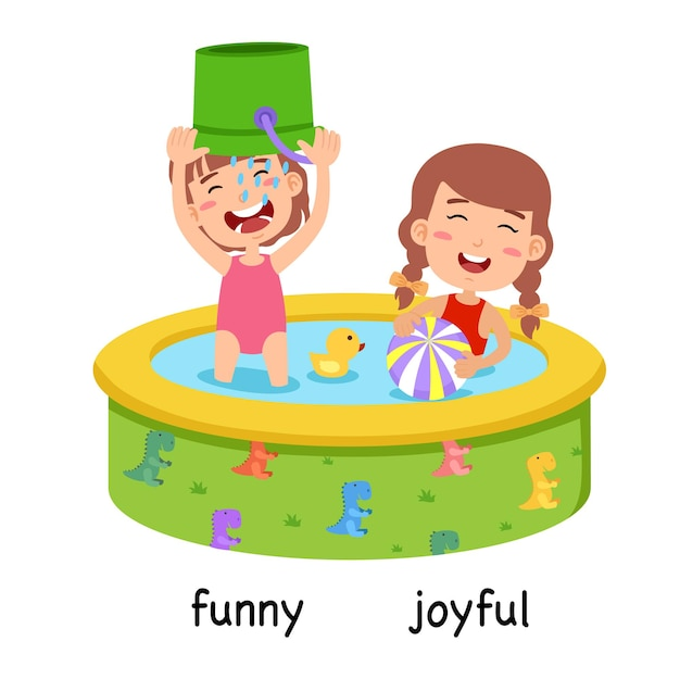 Synonyms funny and joyful vector illustration