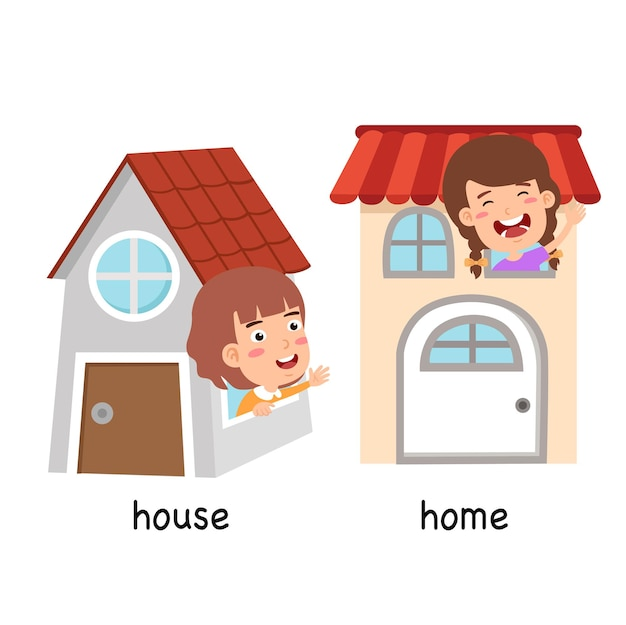 Synonyms house and home vector illustration