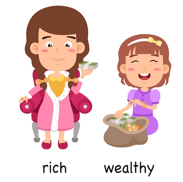 Synonyms rich and wealthy vector illustration