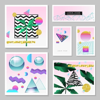 Synth wave tropical poster set. futuristic background with geometric elements. holographic design for posters.
