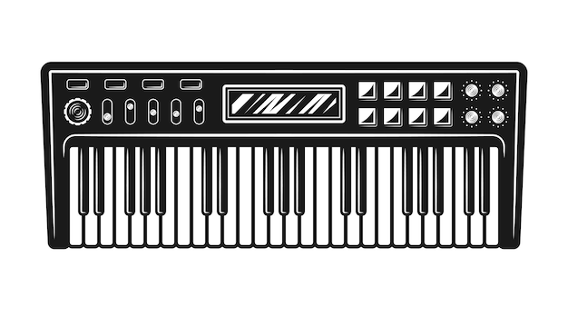 Synthesizer musical instrument top view vector illustration in monochrome style isolated on white background