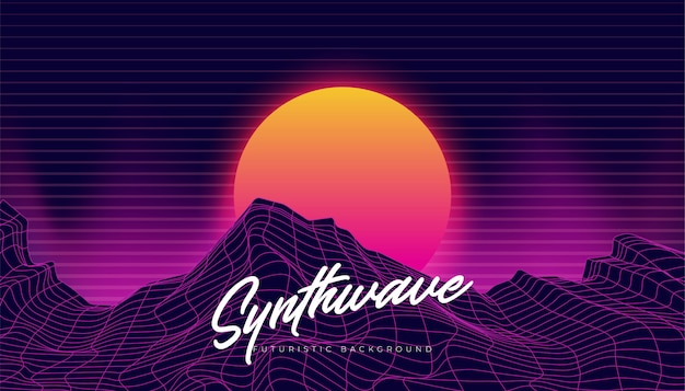 Synthwave 3d background landscape 80s illustration