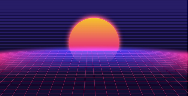 Synthwave 3d background landscape 80s style