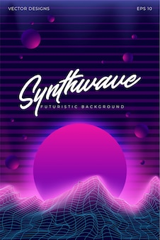 Synthwave background landscape 80s illustration