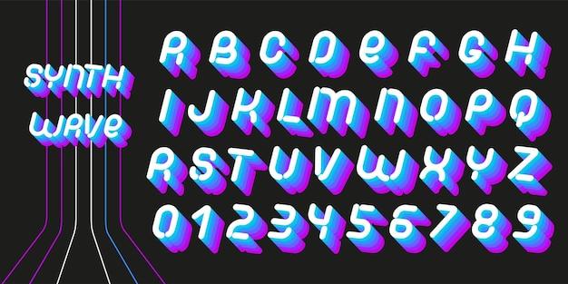 Synthwaveフォント。 70〜80年代の麻酔の手紙。レトロフューチャースタイルのベクトルアルファベット。