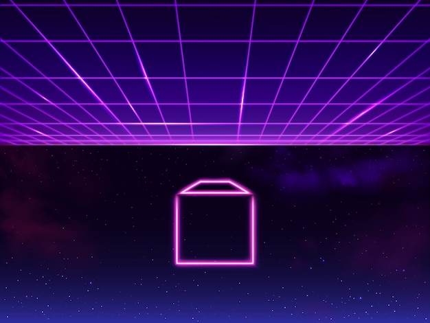 Synthwave neon grid futuristic background with folder icon in space, retro sci-fi 80s 90s. futuresynth rave, vapor party