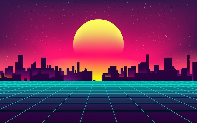Synthwave night city background