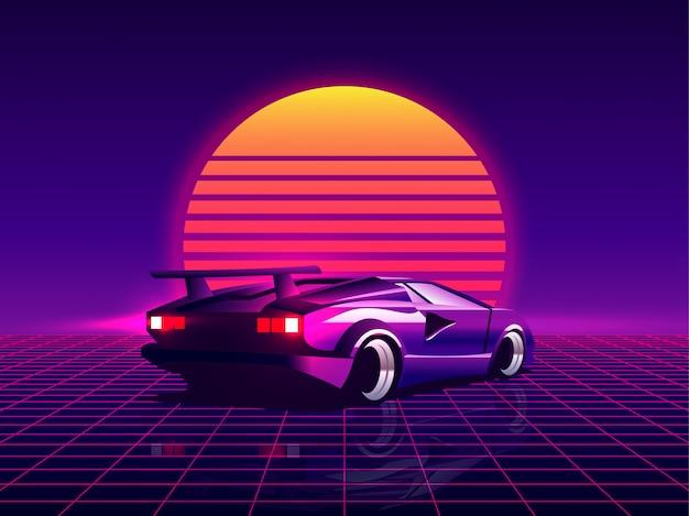 トレンディなsynthwave / vaporwave / cyberpunk夕日を背景にレトロな未来的なバックビュー80年代スーパーカー。 80年代のコンセプトに戻ります。