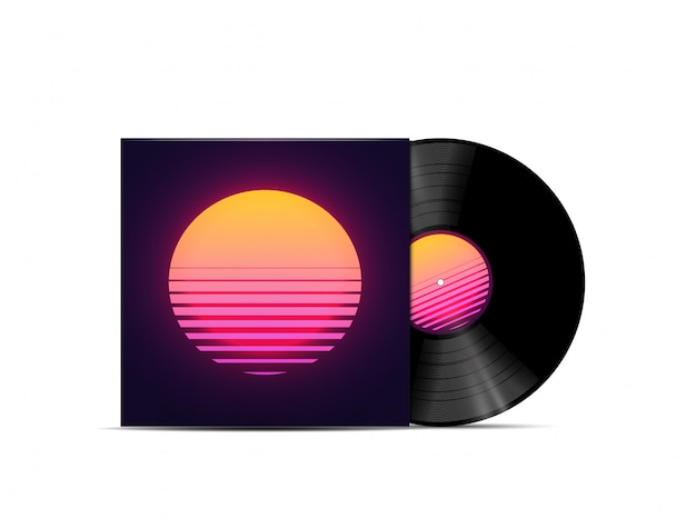 Synthwave、vaporwave、retrowave音楽lpビニールディスクレコードのモックアップは、白い背景で隔離。音楽プレイリストまたはアルバムカバーのテンプレート。図