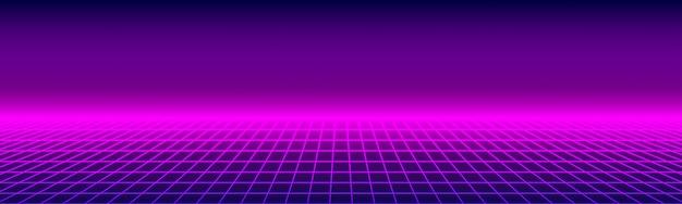 Самолет светящейся неоновой подсветки в стиле ретро synthwave