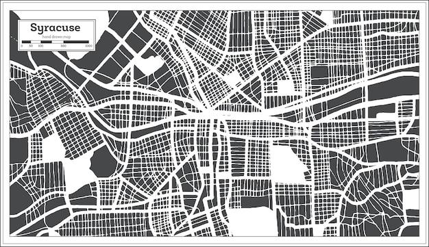 Карта города сиракузы сша в стиле ретро. контурная карта. векторные иллюстрации.