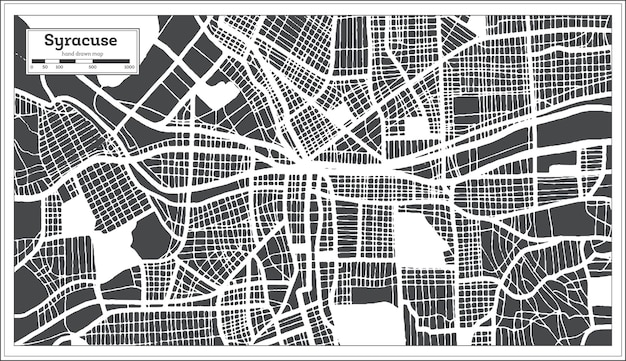 Syracuse usa city map in retro style. outline map. vector illustration.