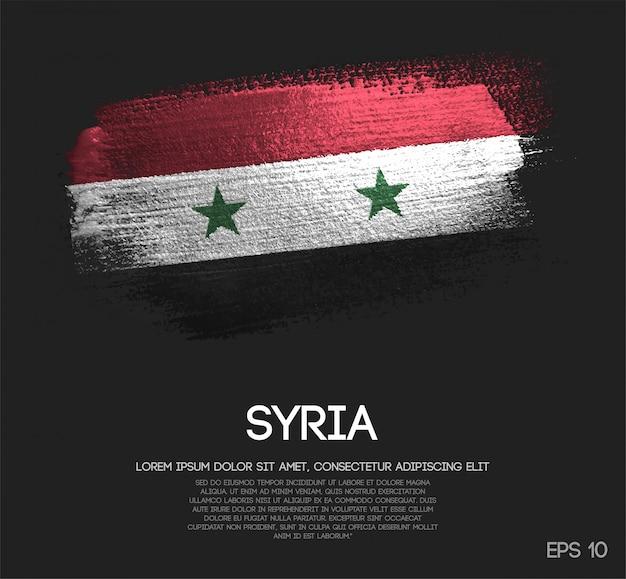 Syria flag made of glitter sparkle brush paint