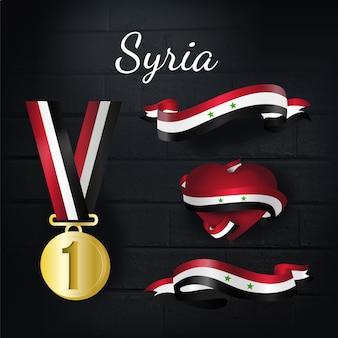 Syria gold medal and ribbons collection