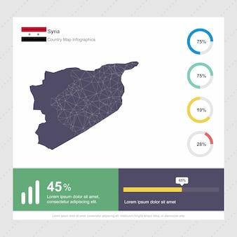 시리아지도 및 플래그 인포 그래픽 템플릿
