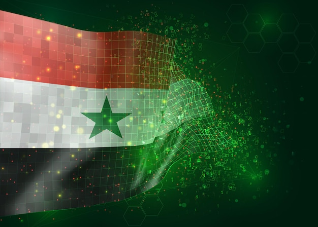 Syria, on vector 3d flag on green background with polygons and data numbers