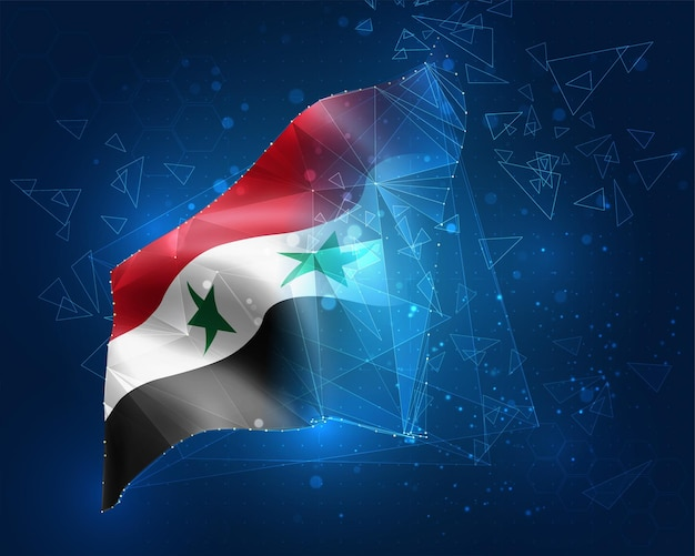 シリア、ベクトルフラグ、青い背景の三角形のポリゴンからの仮想抽象的な3dオブジェクト