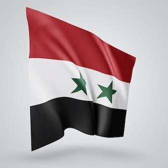 シリア、白い背景の上の風に手を振る波と曲がりのベクトルフラグ。