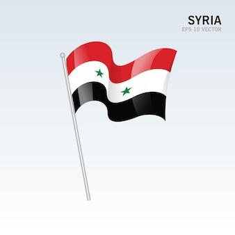 시리아 회색에 고립 된 깃발을 흔들며