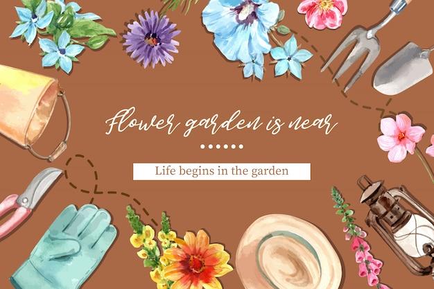 Рамка цветочного сада с фонарем, syriacus гибискуса, иллюстрацией акварели маргаритки.
