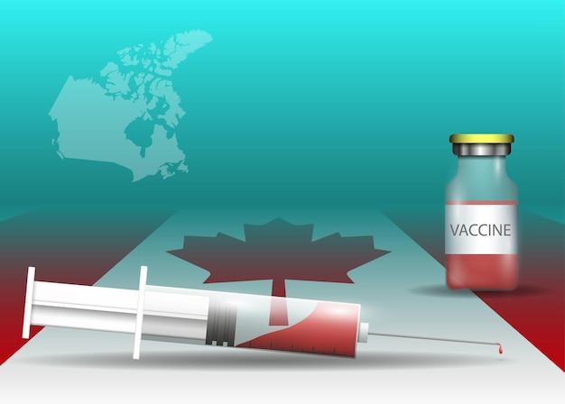 カナダの旗と国の地図上の注射器とワクチン