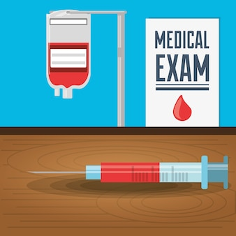 Syringe and blood donation with medical exam