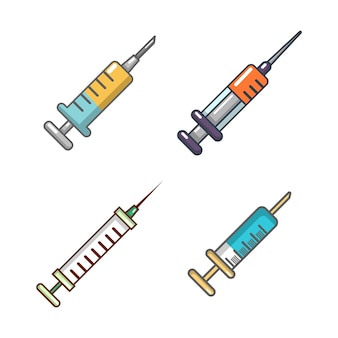 Syringe icon set. cartoon set of syringe vector icons collection isolated