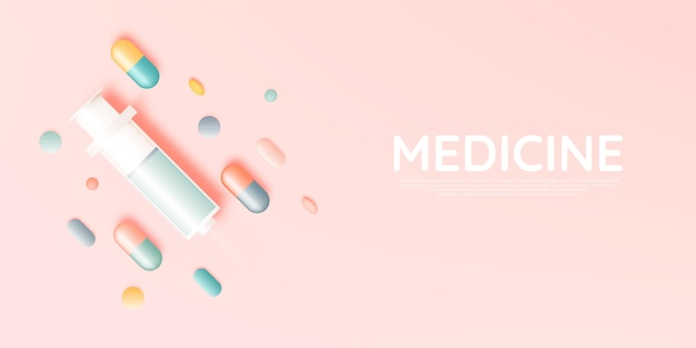 Syringe and medicine in pastel color